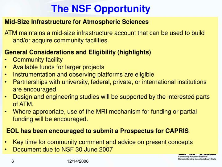 The NSF Opportunity