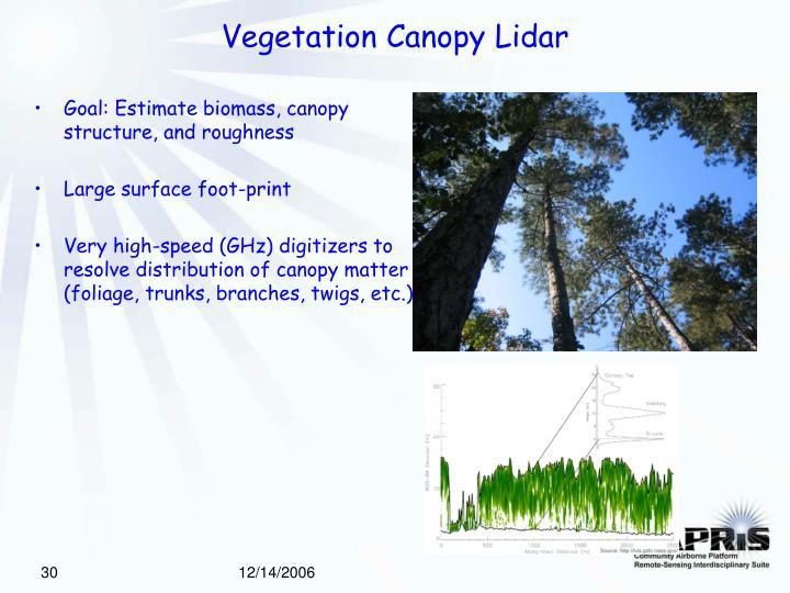 Vegetation Canopy Lidar