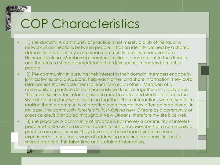 COP Characteristics