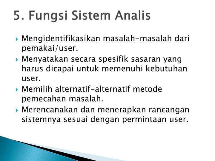 5. Fungsi Sistem Analis