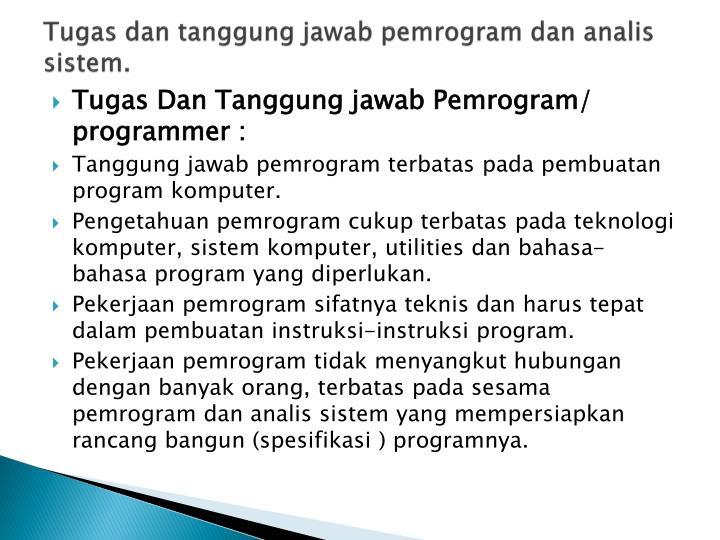 Tugas dan tanggung jawab pemrogram dan analis sistem.