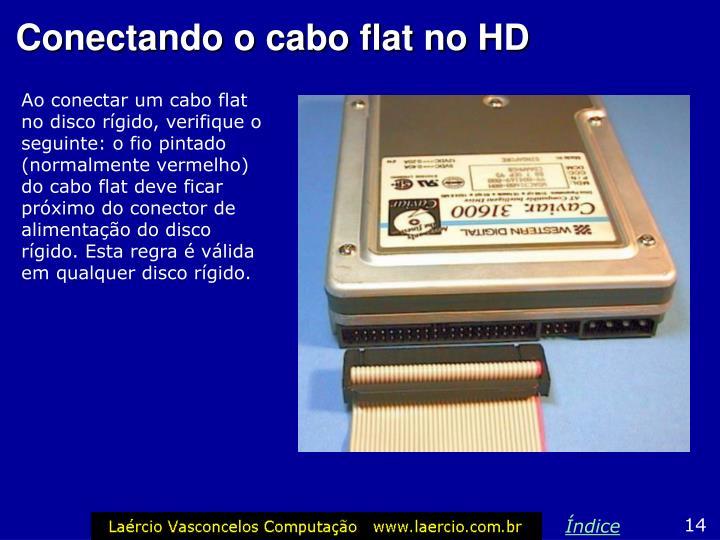 Ao conectar um cabo flat no disco rígido, verifique o seguinte: o fio pintado (normalmente vermelho) do cabo flat deve ficar próximo do conector de alimentação do disco rígido. Esta regra é válida em qualquer disco rígido.