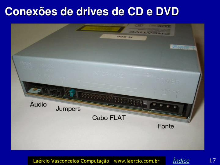 Conexões de drives de CD e DVD