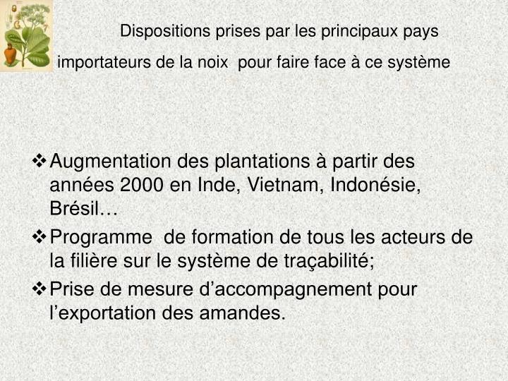Dispositions prises par les principaux pays importateurs de la noix  pour faire face à ce système