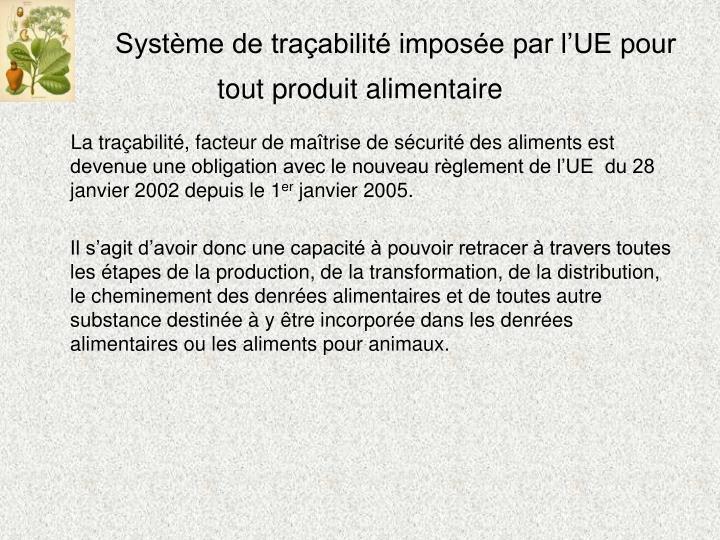 Système de traçabilité imposée par l'UE pour  tout produit alimentaire