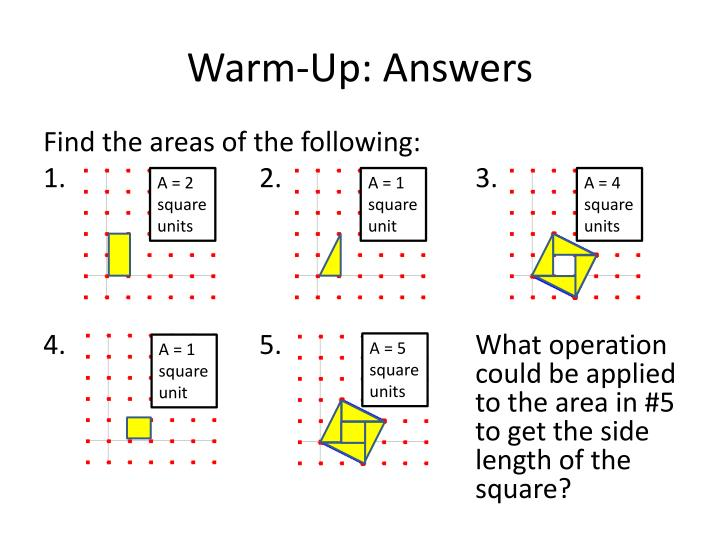 Warm up answers