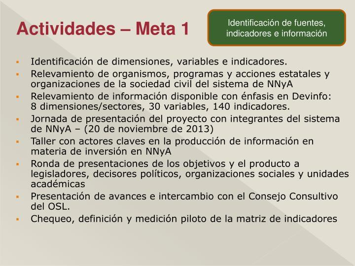 Identificación de fuentes, indicadores e información