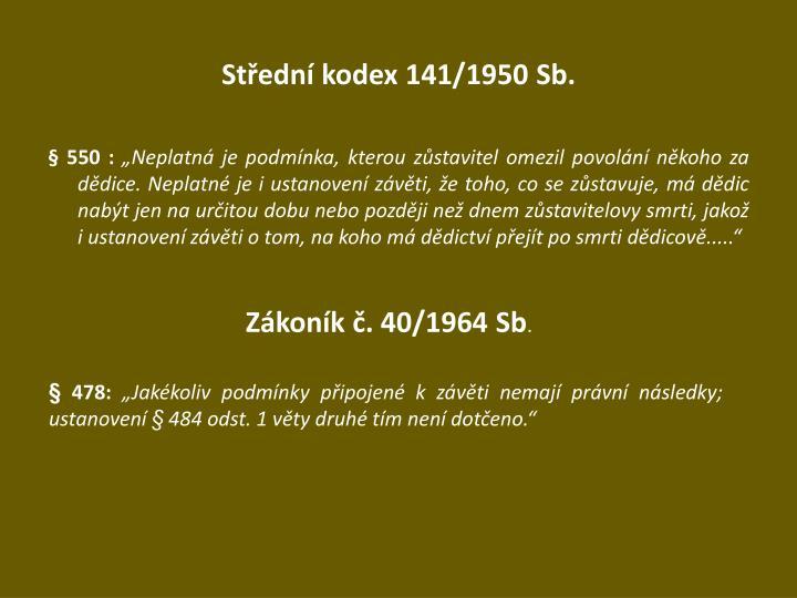 Střední kodex 141/1950 Sb.