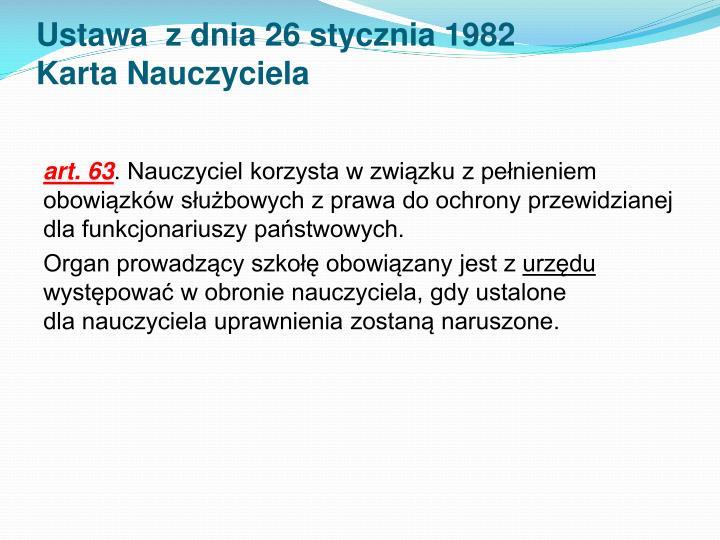 Ustawa  z dnia 26 stycznia 1982