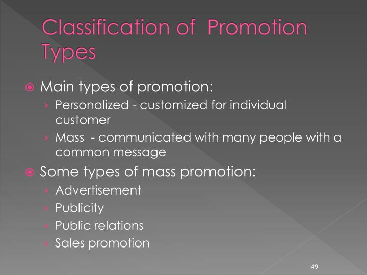Classification of  Promotion Types