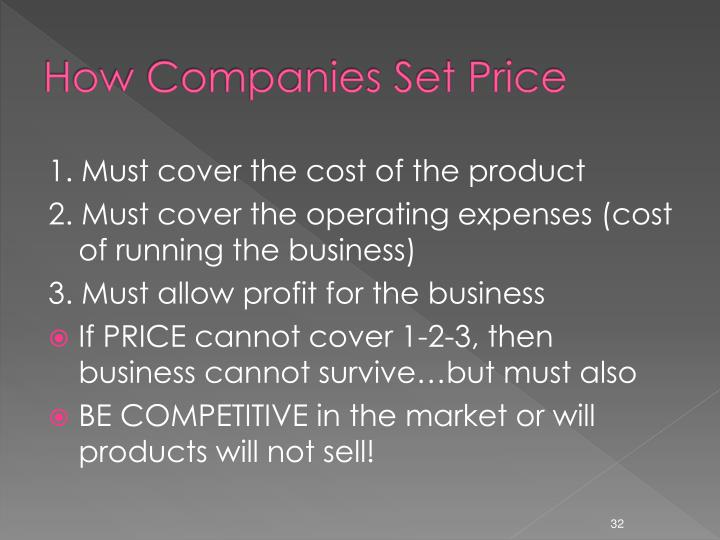 How Companies Set Price