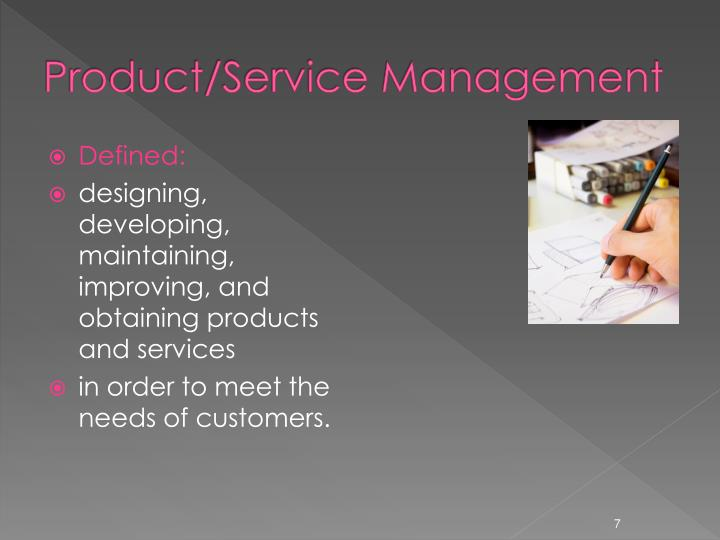 Product/Service Management
