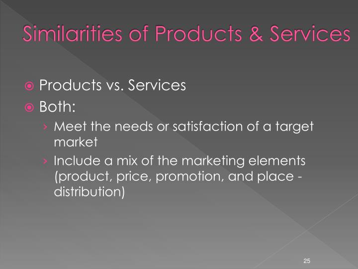 Similarities of Products & Services