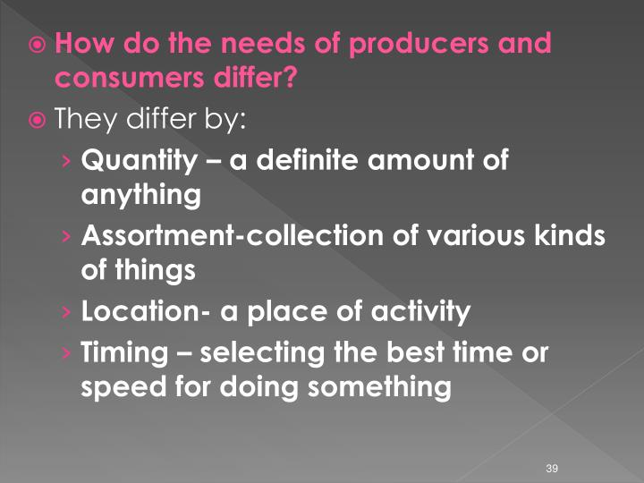 How do the needs of producers and consumers differ?