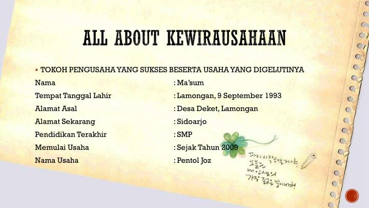 ALL ABOUT KEWIRAUSAHAAN