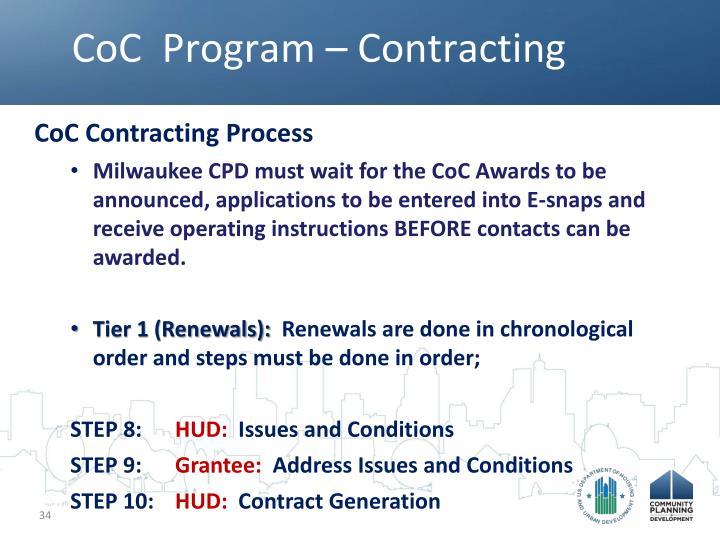 CoC  Program – Contracting
