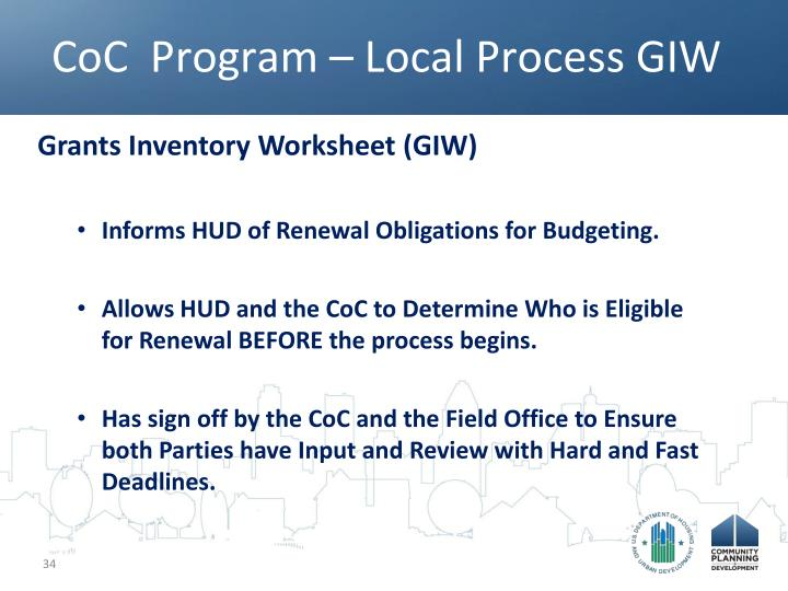 CoC  Program – Local Process GIW