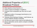 additional properties of bgi1 broadcast protocol