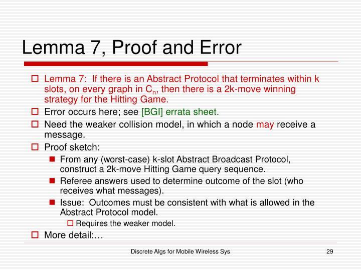 Lemma 7, Proof and Error