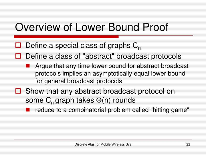 Overview of Lower Bound Proof