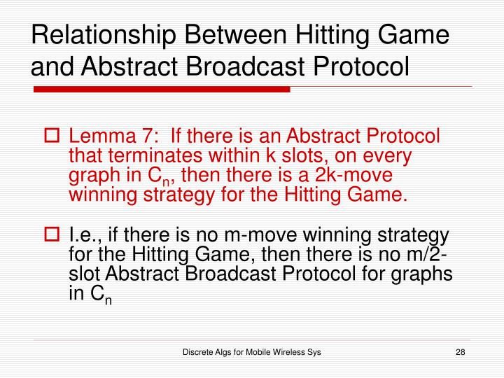 Relationship Between Hitting Game and Abstract Broadcast Protocol