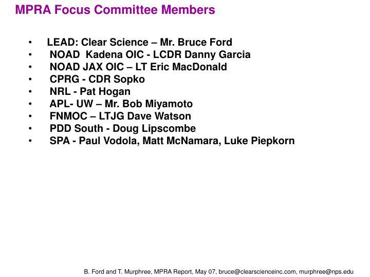 MPRA Focus Committee Members