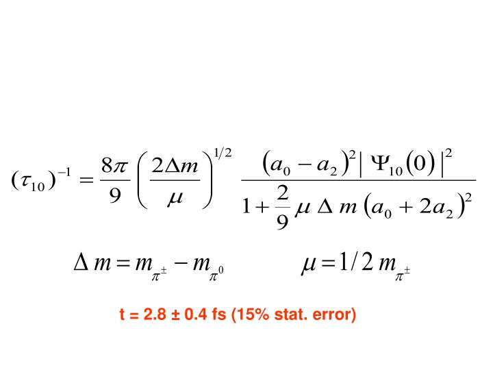 t = 2.8 ± 0.4 fs (15% stat. error)