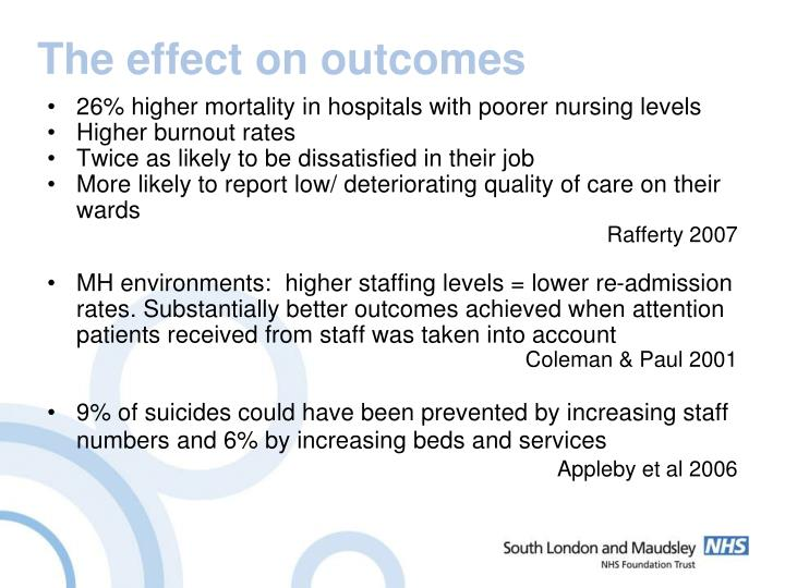 The effect on outcomes