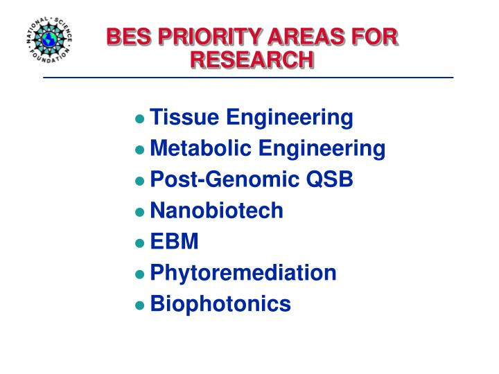 BES PRIORITY AREAS FOR RESEARCH