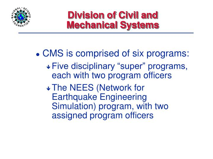 Division of Civil and Mechanical Systems
