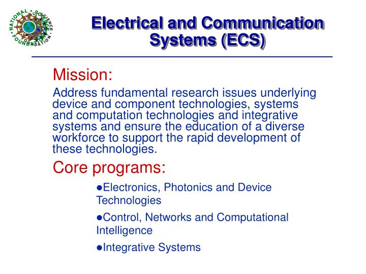 Electrical and Communication Systems (ECS)