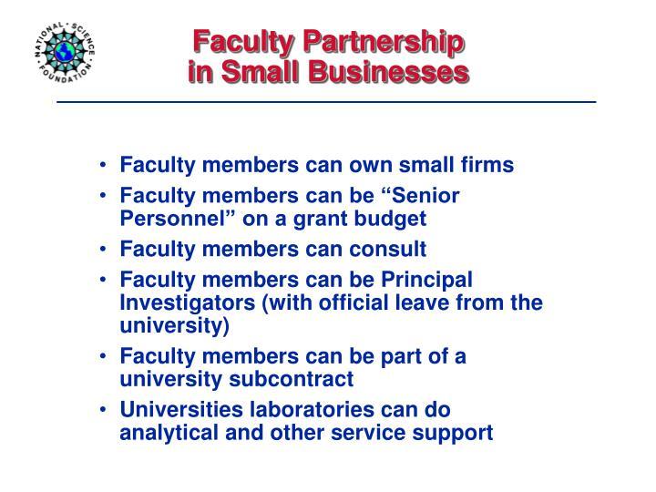 Faculty Partnership