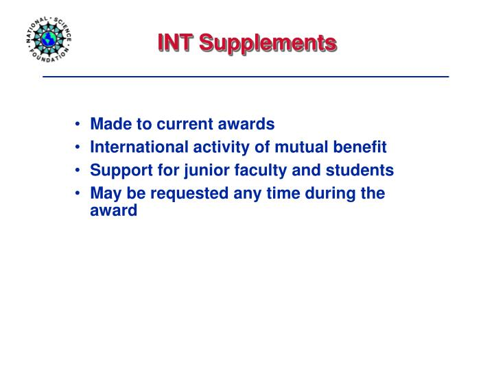 INT Supplements