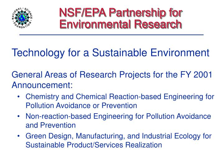NSF/EPA Partnership for Environmental Research