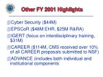 other fy 2001 highlights