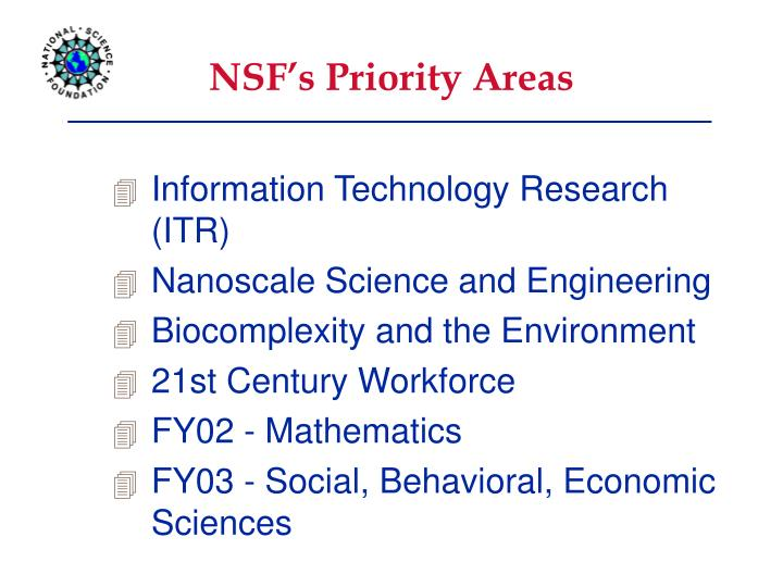 NSF's Priority Areas