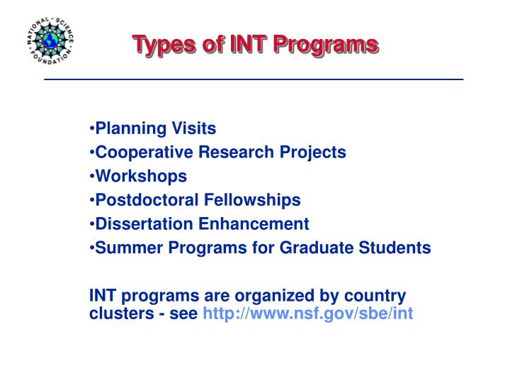Types of INT Programs