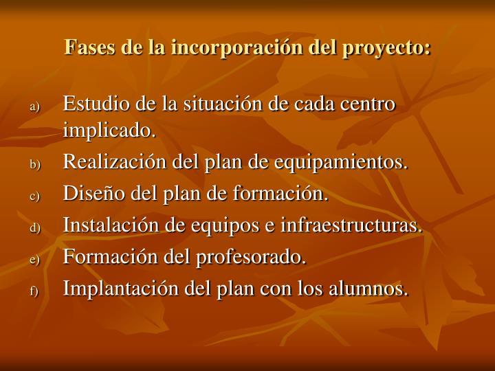 Fases de la incorporación del proyecto: