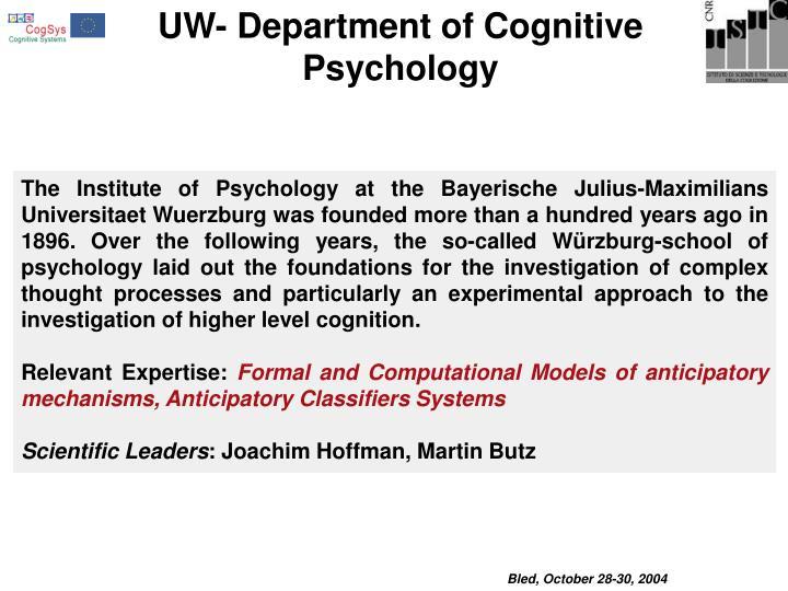 UW- Department of Cognitive Psychology