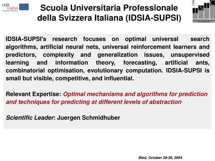 Scuola Universitaria Professionale della Svizzera Italiana (IDSIA-SUPSI)
