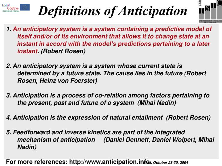 Definitions of Anticipation