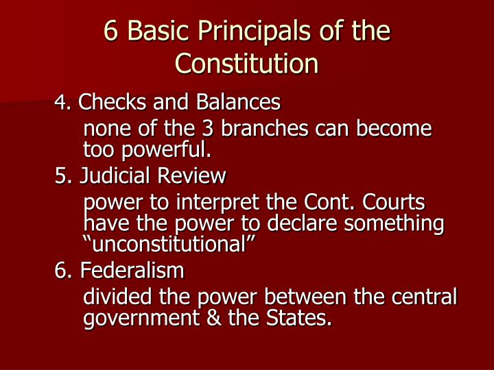 6 Basic Principals of the Constitution