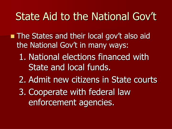 State Aid to the National Gov't