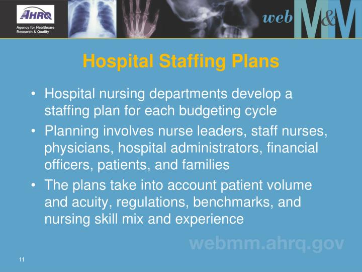 Hospital nursing departments develop a staffing plan for each budgeting cycle