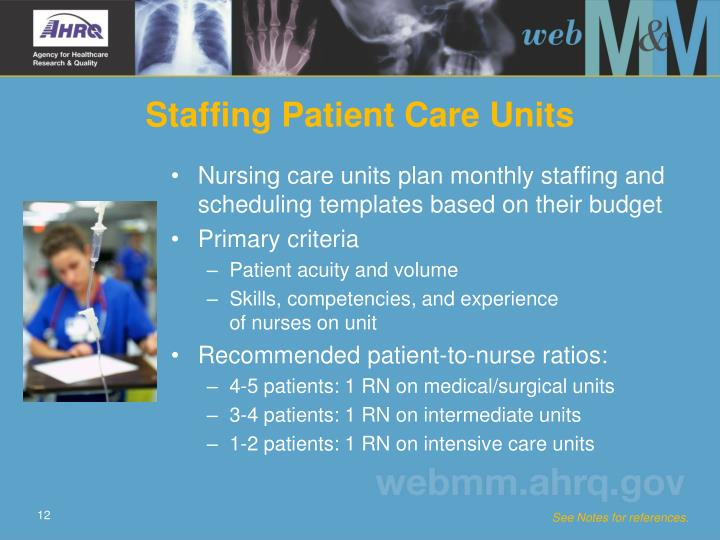 Nursing care units plan monthly staffing and scheduling templates based on their budget
