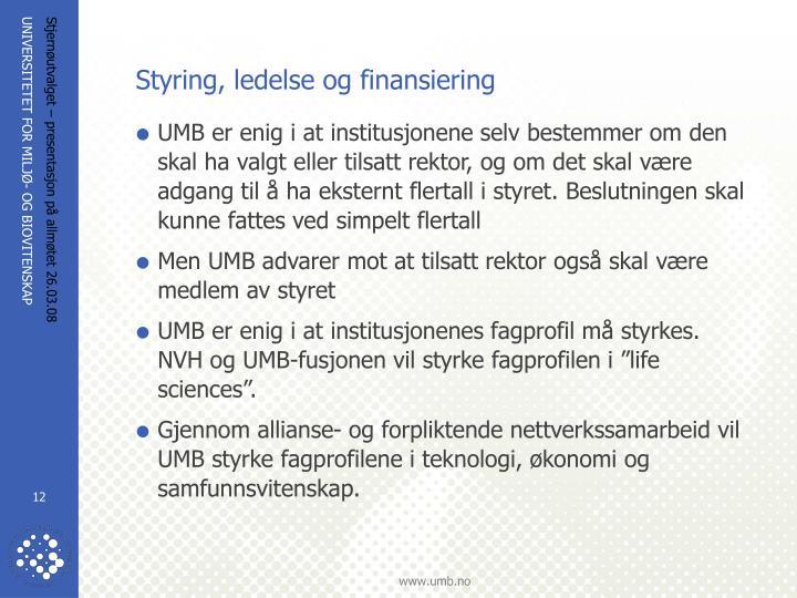 Styring, ledelse og finansiering