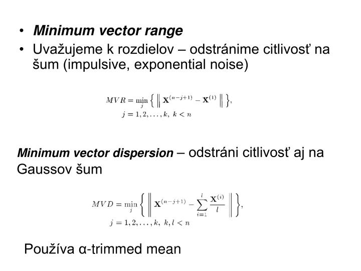 Minimum vector range