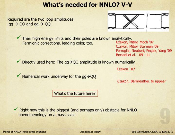 What's needed for NNLO? V-V
