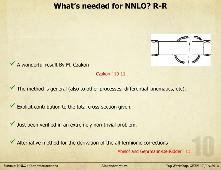 What's needed for NNLO? R-R