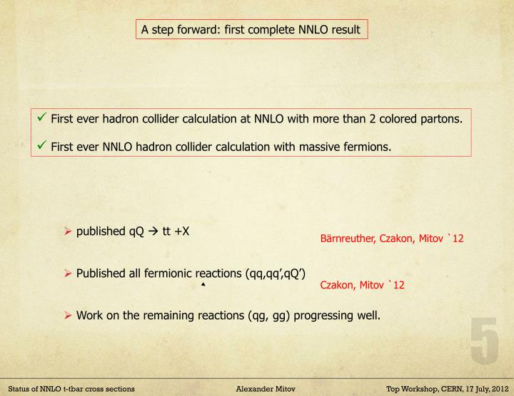 A step forward: first complete NNLO result